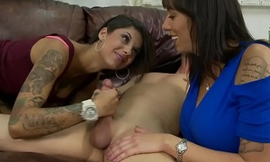 Unscrupulous mama coupled with stepdaughter suck dick