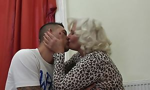 Perverted granny in stockings plus high heels shagged mainly the couch