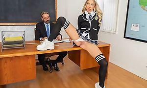 Kinky schoolgirl close by high-knee socks banged on the table