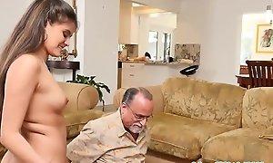 Teen beauty swallows granpa cum after pov bj