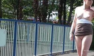 Teen blonde flasher Carly Raes open-air masturbation and exhibitionist babes