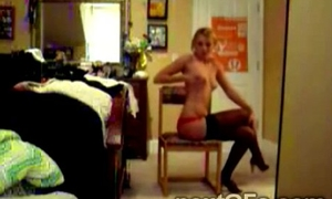 This beautiful young partition performs a kidding striptease nigh live chat01-1