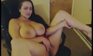 Big-busted BBW Unsubtle in excess of Webcam Masturbating