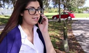 InnocentHigh Hot schoolgirl Ava Taylor in nerdy glasses fucked hardcore