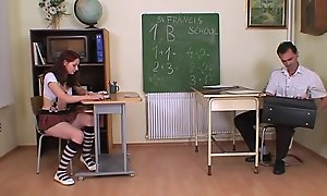 Strict trainer punishes and bangs a schoolgirl
