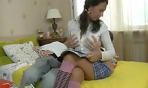 Russian pigtails wet-nurse lets bro anal the brush