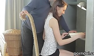 Natural bookworm gets seduced and reamed by older schoolmaster