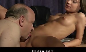 Niggardly Beautiful Teen Pussy Fucked By Fat Old Step-father