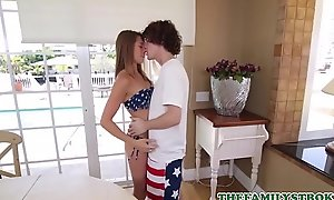 Very Hot Teen Step Sister Kirsten Lee Has Sexual connection With Step Brother During Independence Day Party With Parents