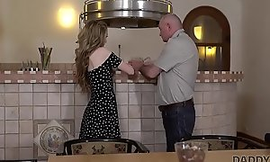 DADDY4K. Cute teen let old pervert puncture her parsimonious pussy superior to before sofa