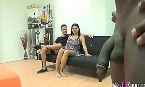 Teen desires her 1st interracial trio
