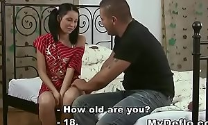 Shy school girl gets say no to pussy deflored and she loves it