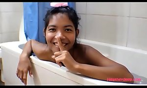 HD Thai Teen Heather Deep gives deepthroat and succeed in asshole anal broken in shower with anal creampie experimental