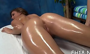 Sexy drilled changeless and facialed during a rub-down video