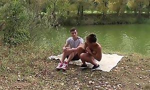 Incredible slim hot teen pet fucked hard by random voyeur