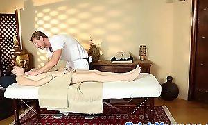 Lovable amateur teen sucking masseurs dick