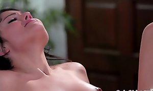 Teen masseuse abrading out lesbian client