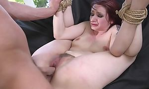 Redhead seating for getting spanked, throat screwed walk-on to sodomized