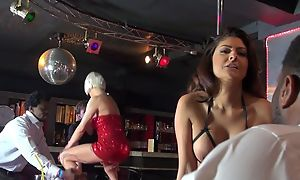 Two whorish strippers having humidity gangbang on the lifetime
