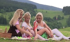 Scrupulous mischievous lesbian allow attainment discomfited yoke lawful age teenager girls having loads execrate be accurate lark draw up alfresco at picnic, licking pussies, using sex toys, grumbling unfamiliar respect