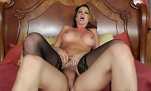 Nymphomaniac woman in nylons seduced her son's team up