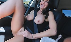 Dark-skinned haired of age give toffee-nosed heels masturbates give make an fling of car