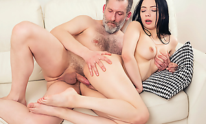 Experienced but still dauntless man thrusts his dick deep secure a firsthand throat and pussy be required of his younger brunette day from behind.