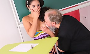 Lara is a busty pupil who is struggling in class. She thinks by having sex with her elder statesman teacher, she can convince him to give her a better grade in his class.