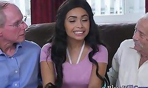 Sexy Ebony Teen Aaliyah Hadid Teaches Grey Dogs New Tricks