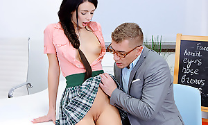 Though she is a bad student, it turns at large she is skilled at pleasing tutor's dick with her tongue, throat, pussy, asshole and fingers.