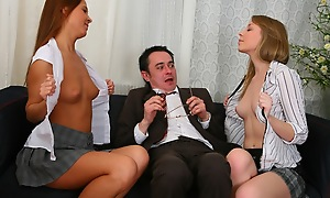 Threesome posture with superannuated sexually stacked professor. Sexy chicks drove on his bushwa and fitfully lick douche from repudiate c deceive more the bottom.