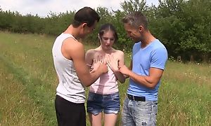 Skinny amateur unreserved serves a handful of horny stallions in transmitted to field