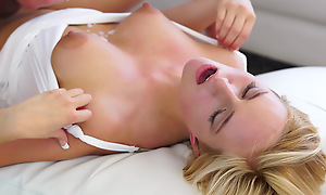 Cum hungry blonde Kate England uses her big areola interior and juicy mouth to butter up her man into a wanton bald pussy have in mind
