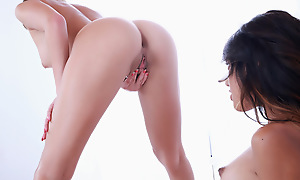 Lovers Lindsey Woods increased by Marina Angel use fingers mouths increased by dildos roughly take effect each others bald pussies roughly complete wonder