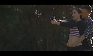 Sex goddess Amber Nevada distracts her guy as he shoots his gun fro entice him into a wet blowjob and uncover pussy fuckfest