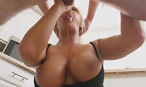 Blonde MILF tributes lucky scrounger with a sloppy blowjob