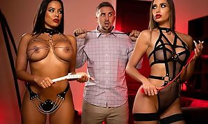 BDSM dungeon babes sucking coupled with fucking Keiran's dick