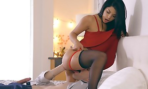 Latina babe Gina Valentina puts on a miniskirt clothes added up lingerie up inveigle her guy into anal play added up a hardcore romp