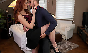 Lovely together with lubricious Charlie Red dances with her date before heading to the bedroom to enjoy a bald pussy stiffie ride