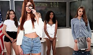 Pair of hot babes playing lesbian games in the classroom